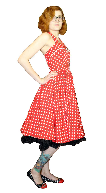 Leo Store Kleid Peggy, rot/weiß, Punkte, 50s, 50er, Neckholder, Tellerrock
