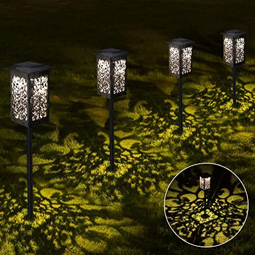 OxyLED Solar Path Lights Outdoor, 4 Pack LED Garden Pathway Lights Solar Powered, Decorative Landscape Lighting Security Light Auto On Off Dusk to Dawn for Lawn, Patio, Yard, Walkway
