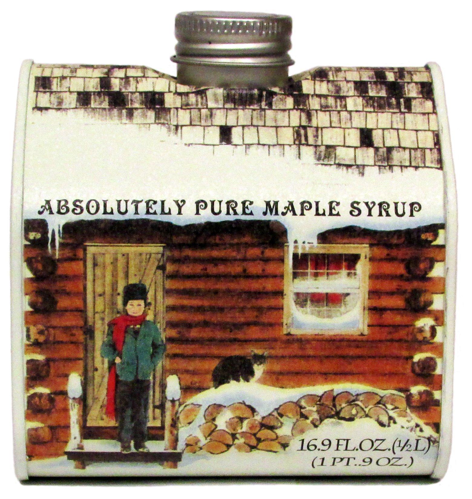 Ferguson Farms 100% Pure Vermont Maple Syrup, Grade A Dark, Log Cabin Tin Pint (16.9oz)