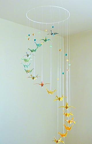 mobile bb origami spirale 18 grues et perles tons vert jaune dor - Fabriquer Mobile Bebe Origami