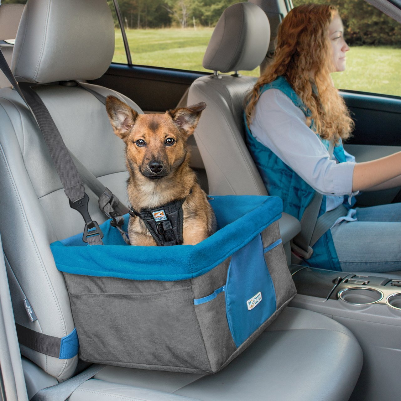 Kurgo Heather Dog Booster Seat for Cars with Seat Belt Tether, Charcoal - Lifetime Warranty 12D x 16W x 8H; holds dogs up to 30 pounds