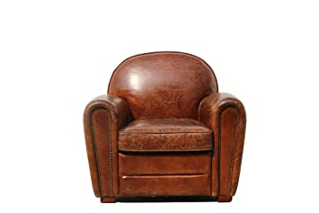 Lovely Amazon.com: Pasargad Paris Club Chair Genuine Top Grain Leather: Kitchen U0026  Dining