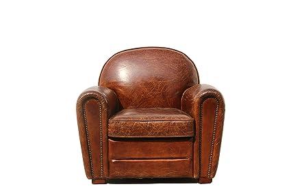 Pasargad Paris Club Chair Genuine Top Grain Leather