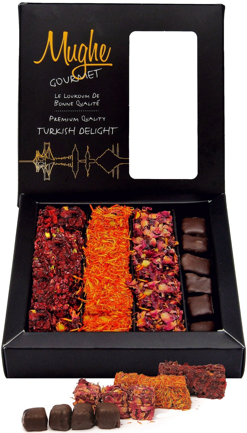 Luxury Turkish Delight Pistachio Assorted - 4 Varieties: Chocolate, Rose, Saffron, Pomegranate -Taste the Unique ORIGINAL Most Prestigious Turkish Delight Mix /Gourmet Lokum Gift Box (20-25 Pcs/13 Oz)