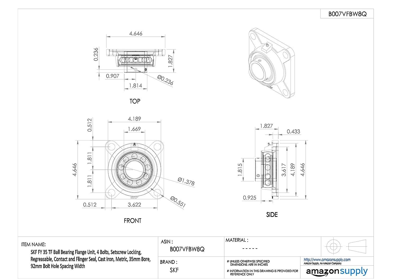 regreasable m/étricas hierro fundido 4/agujeros SKF fy-tf serie rodamiento de bolas brida unidad Contacto y Flinger sellos setscrew Lock 1 25 mm