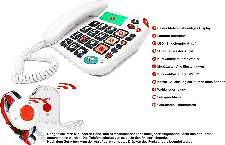 Maxcom Kxt481sos Haus Notruf Seniorentelefon Mit Elektronik