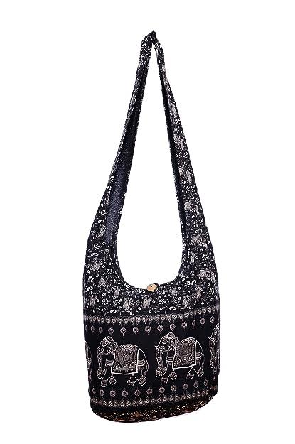 3f2ac2e5da8a Amazon.com  Avarada Thai Cotton Hippie Hobo Sling Crossbody Bag Messenger  Purse Bohemian Elephant Print Black  Shoes
