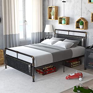 Mecor Vintage Metal Full Size Bed Frame/Upholstered Faux Leather Nail Head Trim Headboard Footboard/Sturdy Steel Slats/Industrial Water Pipe Design/No Box Spring Needed - Full, Black
