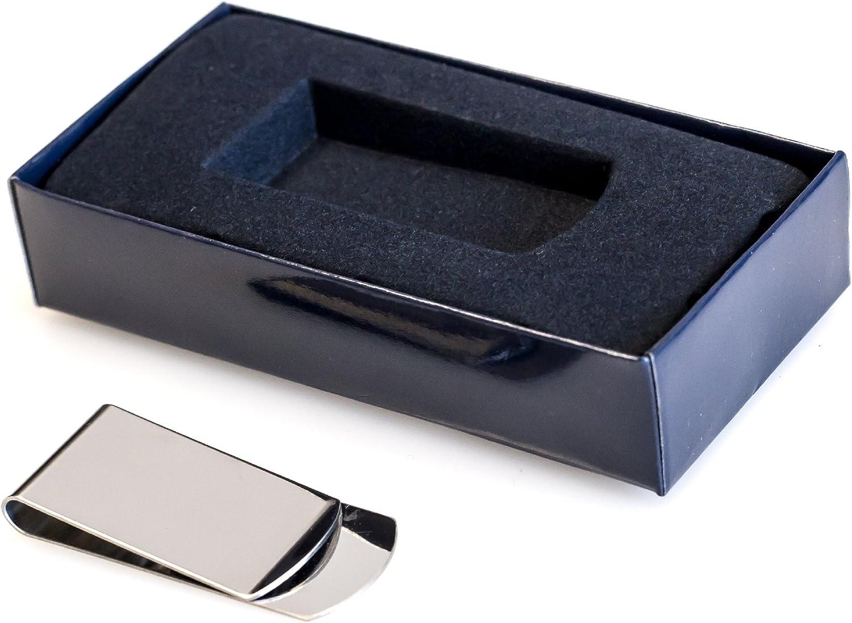 Engrave It Online Personalizable bañado en Plata Dinero Clip con Azul Caja de presentación–Grabado con su Mensaje