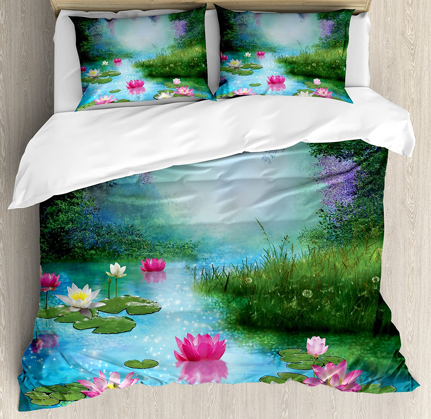 Ambesonne Nature Duvet Cover Set, Fantasy Pond with Water Lilies Floating Romantic Lotus Fairy Tale Digital Art, Decorative 3 Piece Bedding Set with 2 Pillow Shams, Queen Size, Aqua Pink