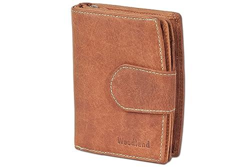 Woodland Monedero compacto de lujo de las mujeres con muchos bolsillos para tarjetas de crédito hechas de aficionados no tratados