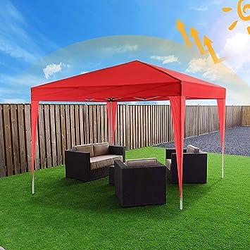 Bunao Carpa con Paredes 3x3 m | Plegable, Impermeable, con Protección Solar, Ideal para Fiestas en el Jardín | Gazebo, Cenador, Pabellón, Tienda Fiestas | Persona 6-8 (Typ_11): Amazon.es: Jardín
