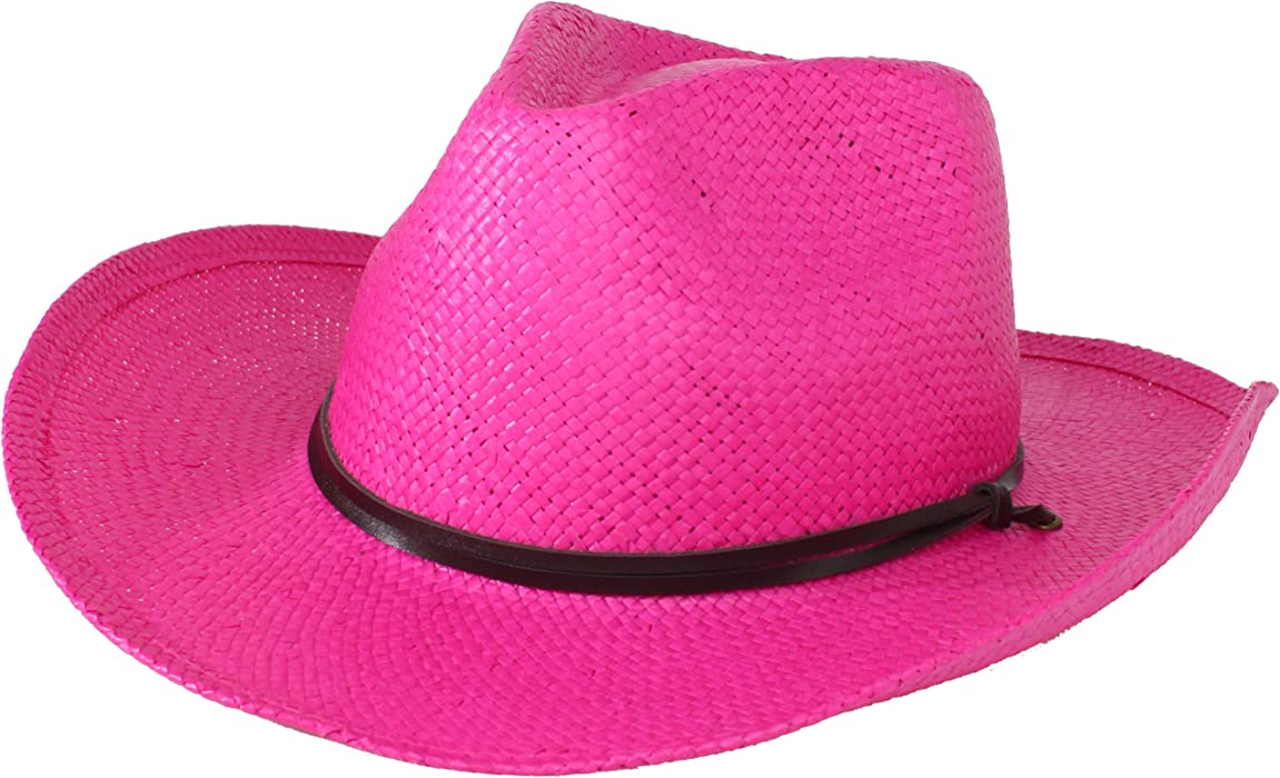 b71e9f19aa9a04 San Diego Hat Company Women's Soft Toyo Paper Cowboy Hat, Bright Pink, One  Size