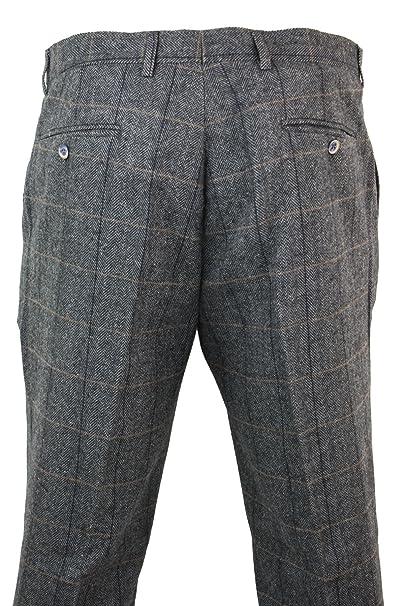 3c33e6308e00a Pantalon homme tweed chevrons vintage rétro à carreaux en laine mélangée  style Peaky Blinders