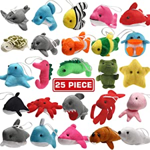 25 Pack Mini Ocean Animal Plush Toys,Sea Creatures Stuffed Toy for Kid Party Favor,Small Keychain Decoration for Christmas Tree,Goody Bag Fillers,Stocking Stuffers,Easter Eggs Fillers,Dog Cat
