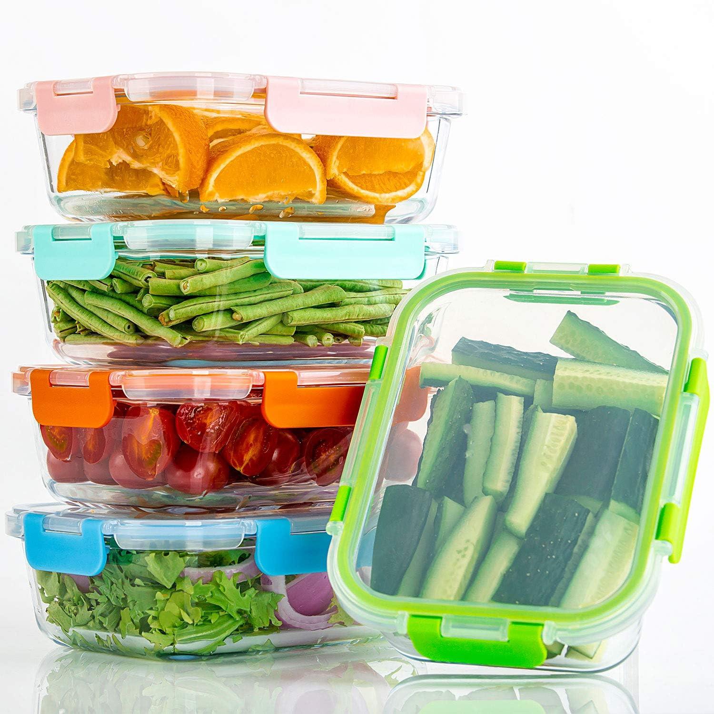 recipientes de vidrio para almacenamiento de alimentos con tapas herm/éticas para cocina uso dom/éstico Contenedores de vidrio para almuerzo 10 unidades Preparaci/ón de comidas Multicolor