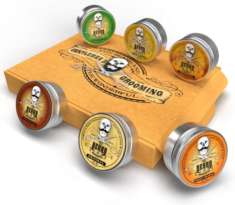 Bigote cera ULTIMATE estuche colección 6 latas – cedro, whisky en las rocas, Naranja Dulce, eucalipto, citronela y original lo-scent. para estilo giros, puntos y rizos – la barba y el Maravilloso: