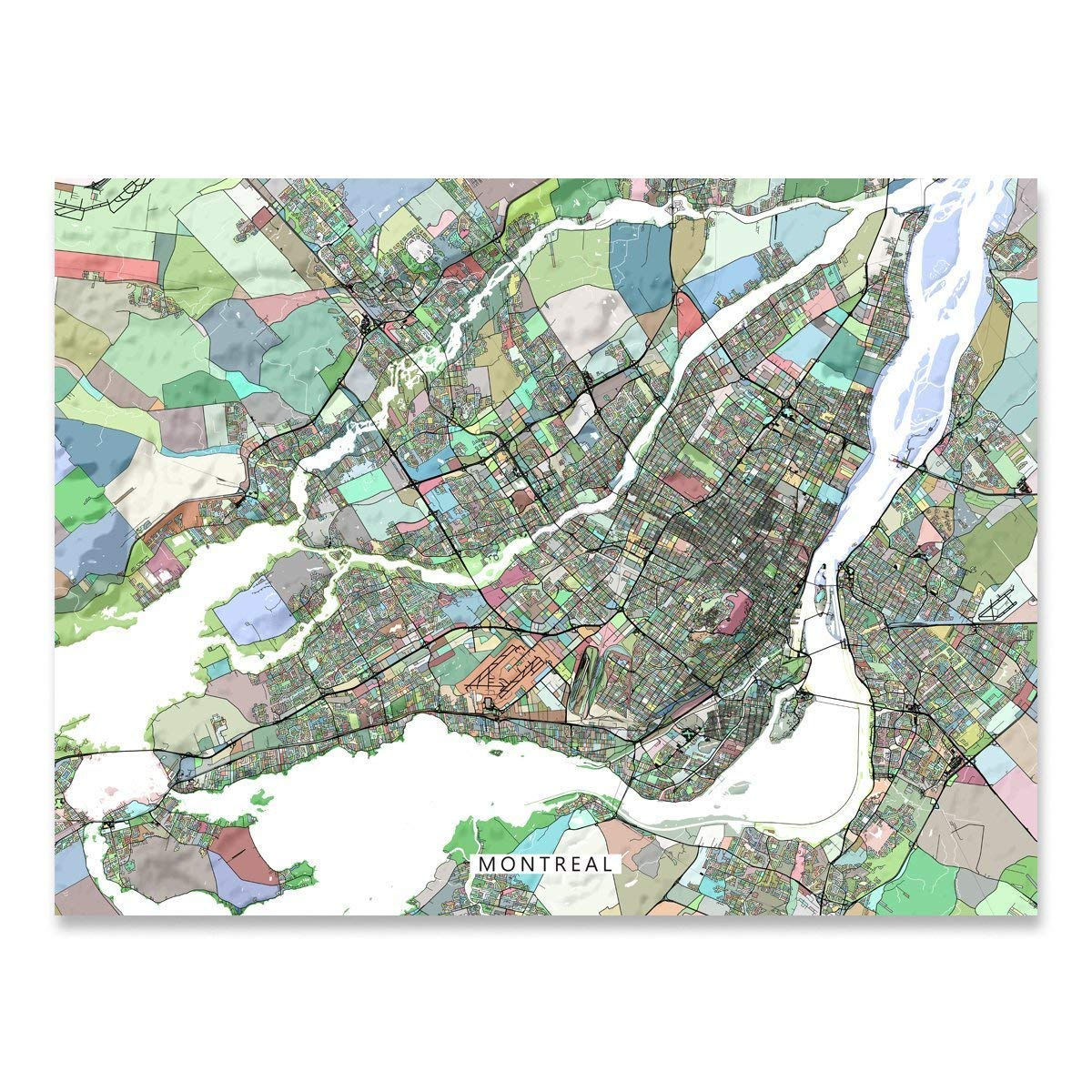 Montreal Map Art Print, Quebec Canada, City Street Wall Poster ... on