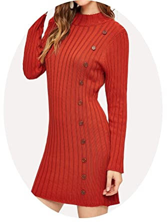 494d16f02a22c Image Unavailable. Image not available for. Color: ECBUDDY Women's Orange  Elegant Mock-Neck Button Detail Rib Knit Sweater Dress ...