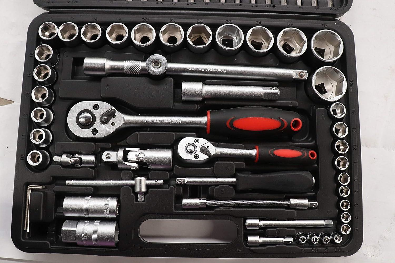 caja de herramientas para reparaci/ón de coches herramienta 1//2 1//4 Juego de llaves de vaso para Blackpoolal