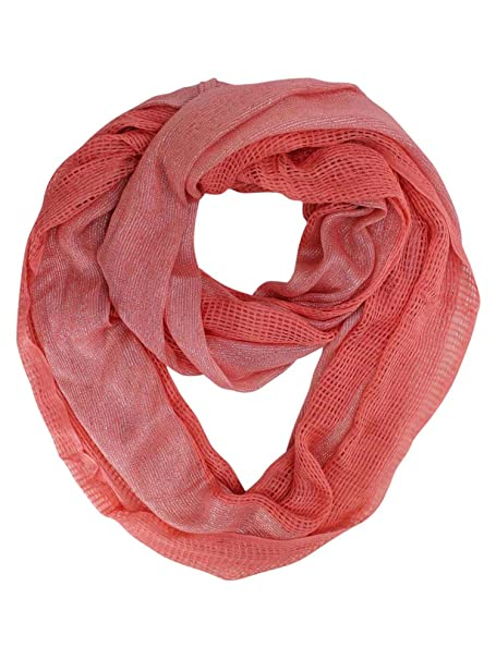 3310e8db00c7f Coral Open Weave Summer Knit Infinity Scarf at Amazon Women's Clothing  store: