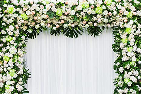 Amazon.com : Wedding Flowers Arch Background Pink White Floral Green ...