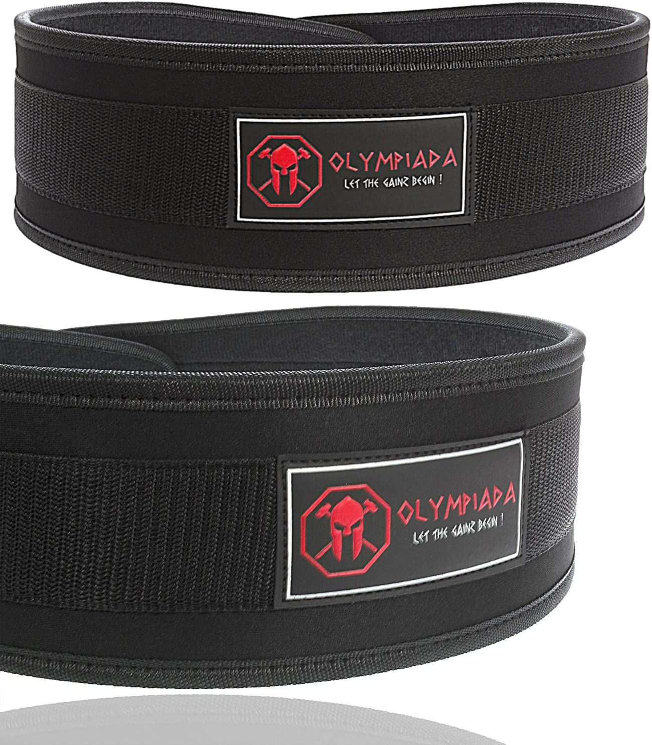 """Olympiada Low Profile Weight Lifting Belt 4""""-6"""" Black - for Weightlifting, Gym, Crossfit, Olympic Lifting and Fitness - Safely Support and Protect Your Back from Injury"""