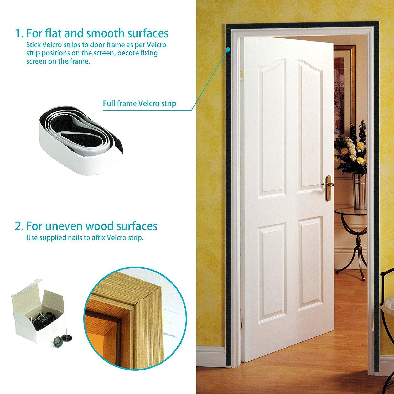 Yinxn Reinforced Magnetic Screen Door With Lightweight Mesh Curtain