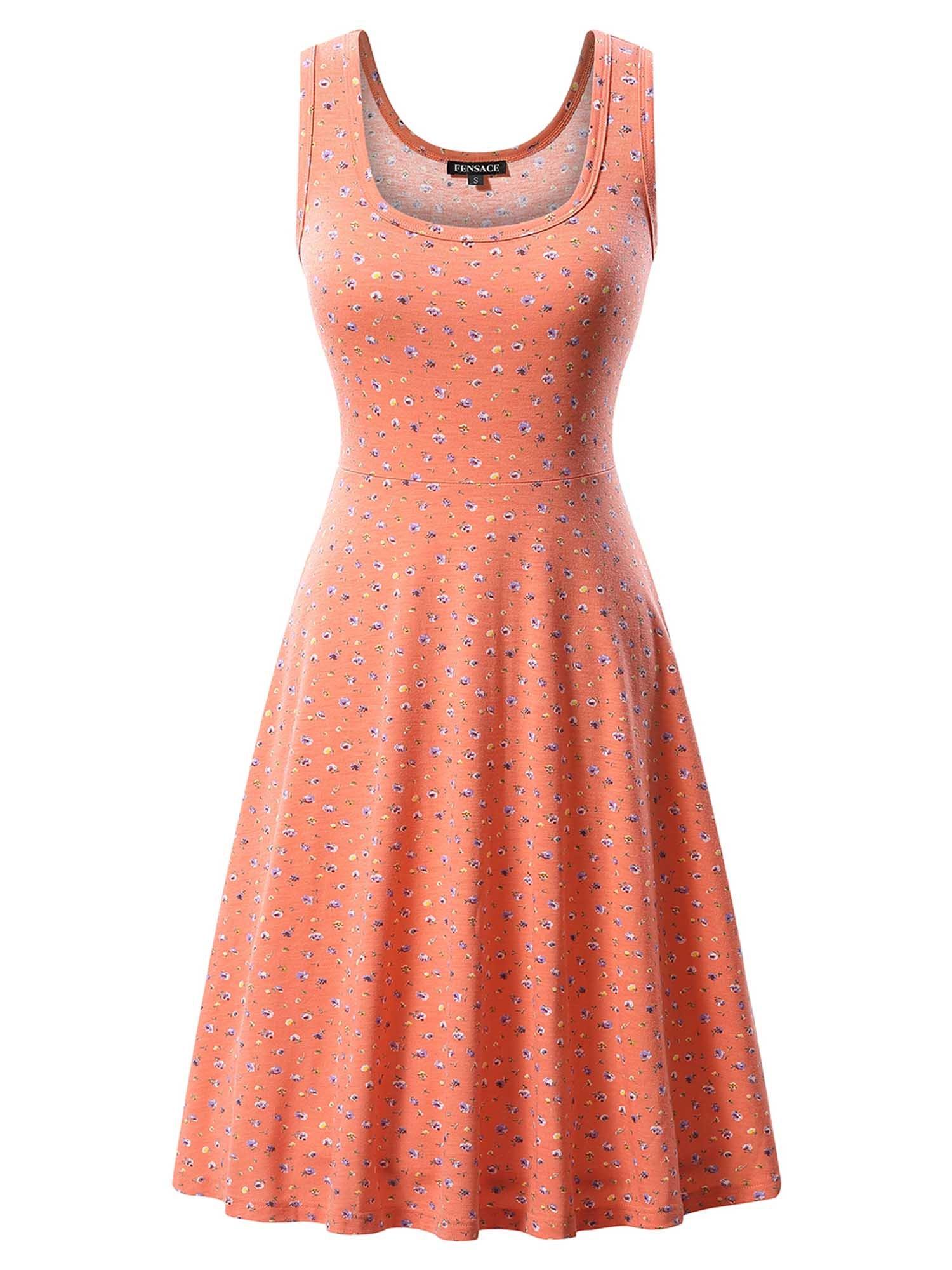 FENSACE Womens Sleeveless Scoop Neck Summer Beach Midi A Line Tank Dress, 17030-19, Medium