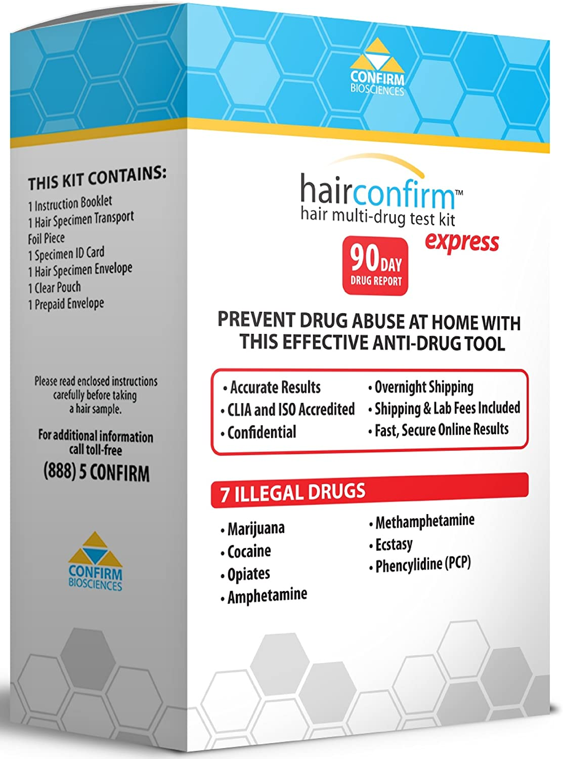 B000UALLOO HairConfirm Hair Follicle Drug Test Kit, 7 Drugs Tested 90 Day Report (Express) 81AUEwbcLIL