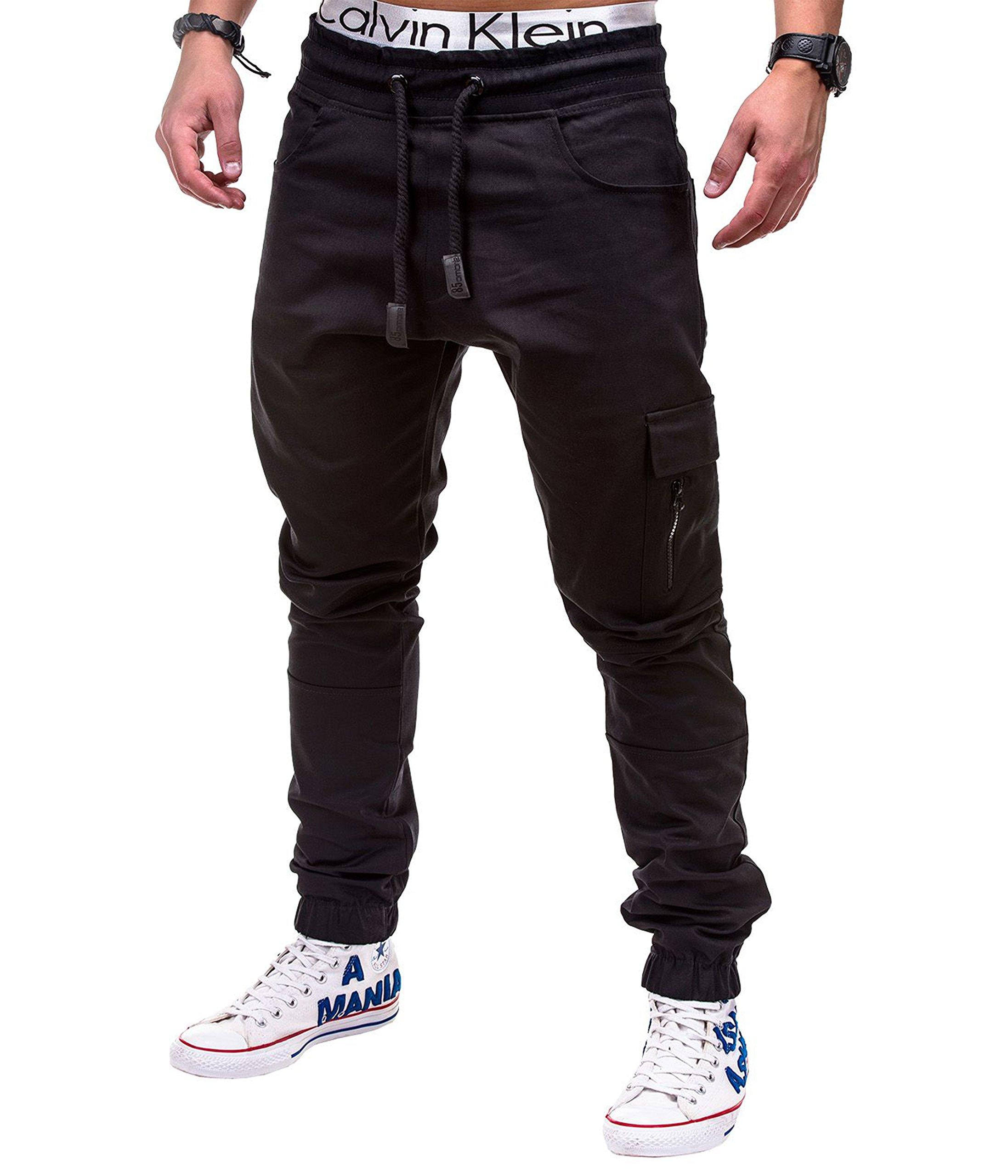 BetterStylz MasonBZ Zip Cargo Chino Jogger Men´s Pants Harem Style Trousers Exercising In Various Colors (S-XXL) (XX-Large, Black)