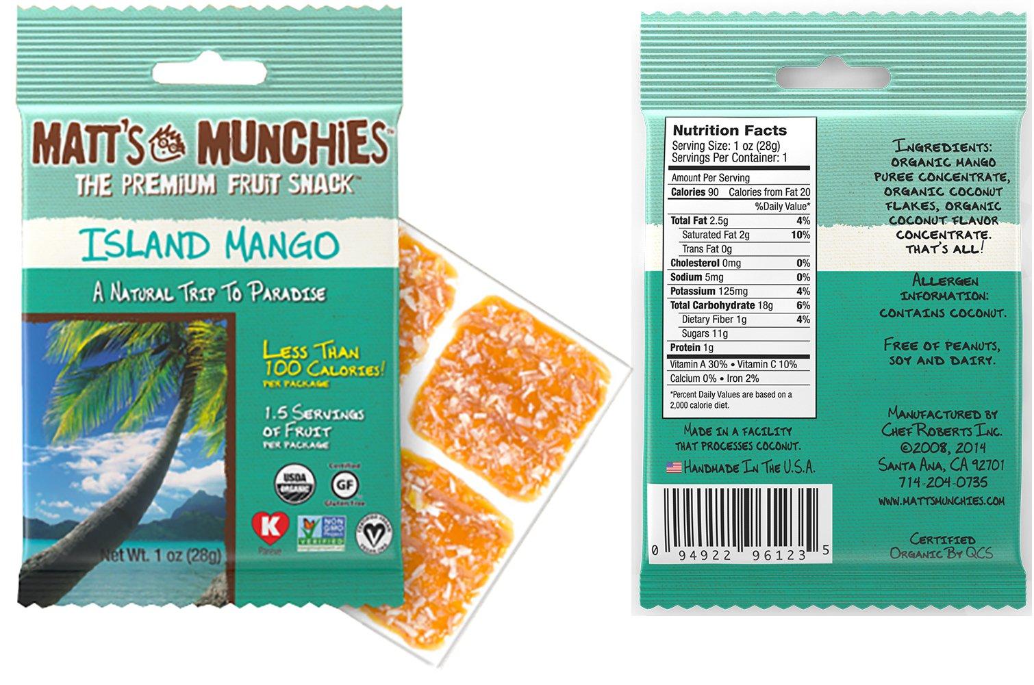 Matt's Munchies Tropical Assortment Organic Non-GMO Fruit Leather Peelable Fruit Snacks 25 Count Variety Pack Caddy - Mango, Island Mango, Tropical Punch, Banana Coconut & Apple by Matt's Munchies (Image #4)