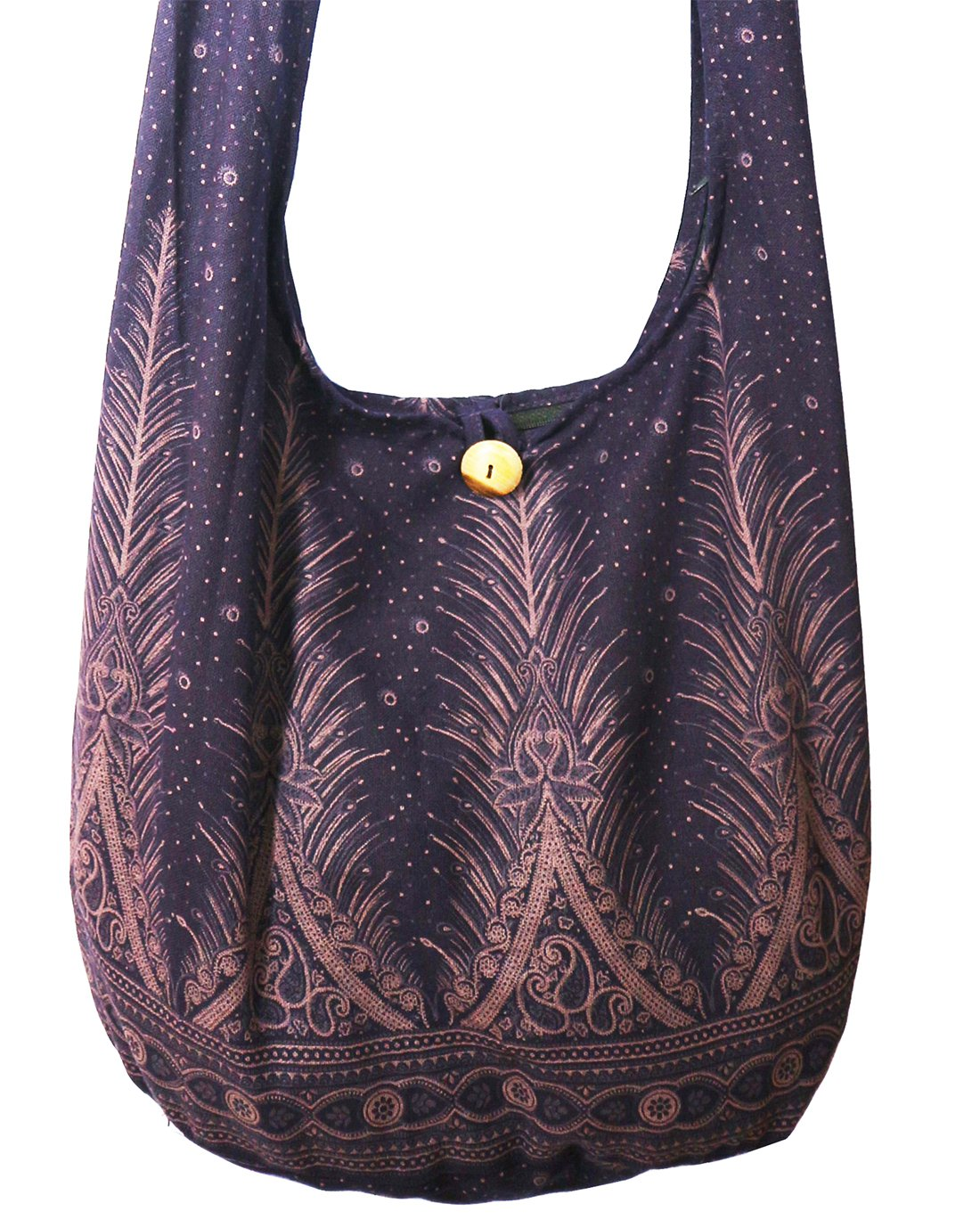 Lovely Creations's Hippie Boho New Elephant Crossbody Bohemian Gypsy Sling Bag Shoulder Bag Large Size (Peacock L Violet)