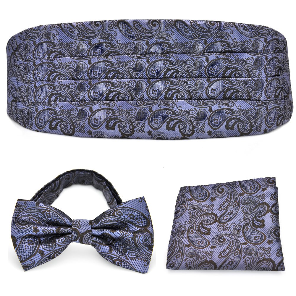 PenSee mens Paisley exquisite Silk Bow Tie & Hankerchief & Cummerbund set-various colori PSK04-042