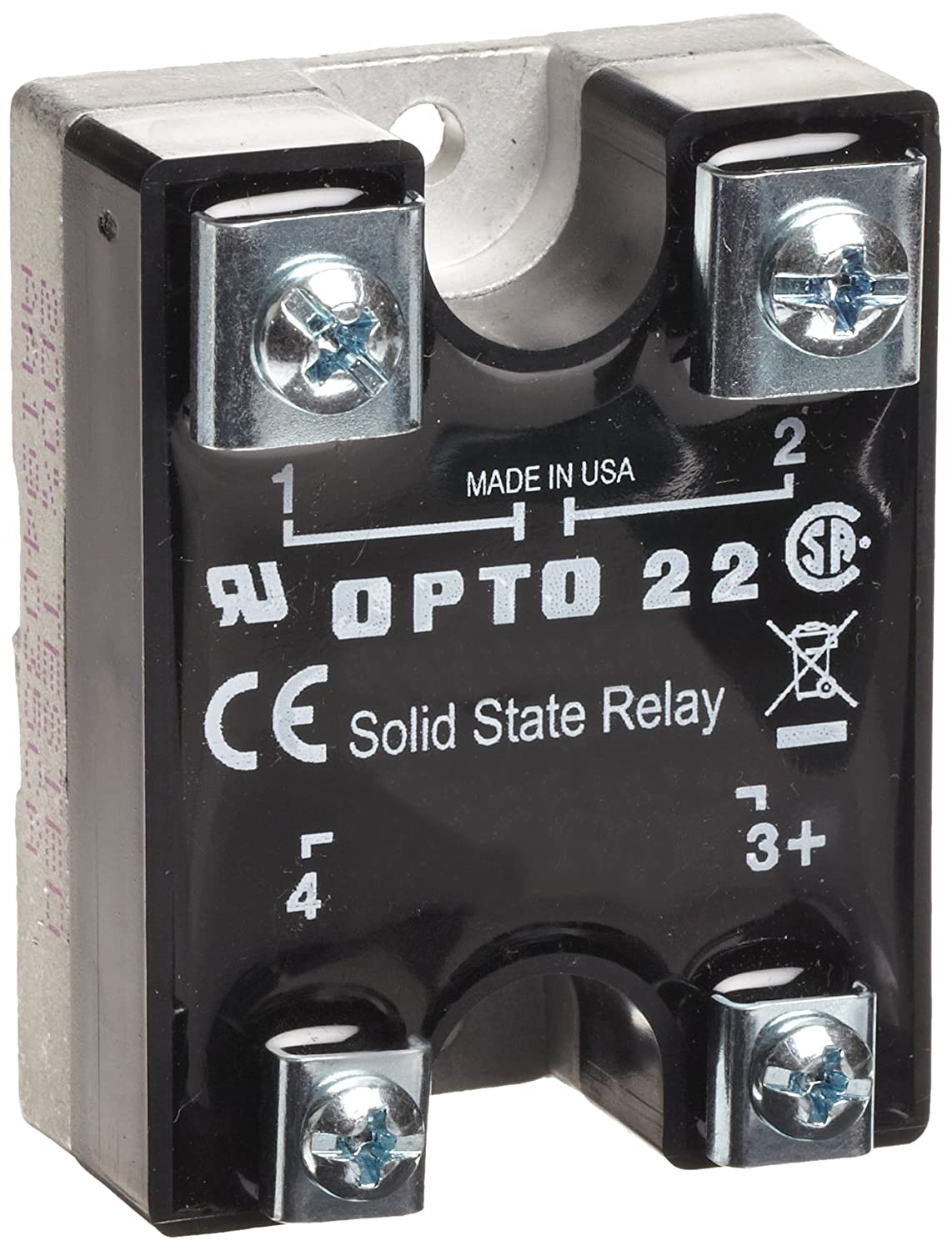 4000 V Optical Isolation 25 Amp 240 VAC 1//2 Cycle Maximum Turn-On//Off Time 25-65 Hz Operating Frequency Opto 22 240D25 DC Control Solid State Relay