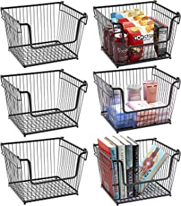 Sorbus Wire Metal Basket Bin, Stackable Storage Baskets, Cubby Bins for Food, Kitchen, Home, Pantry Snack, Vegetable, Potato, Onion, Laundry Room, Office, Farmhouse, Iron Metal (6-Pack, Black)