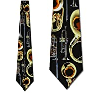 Brass Instruments Tie Mens Necktie by Three Rooker