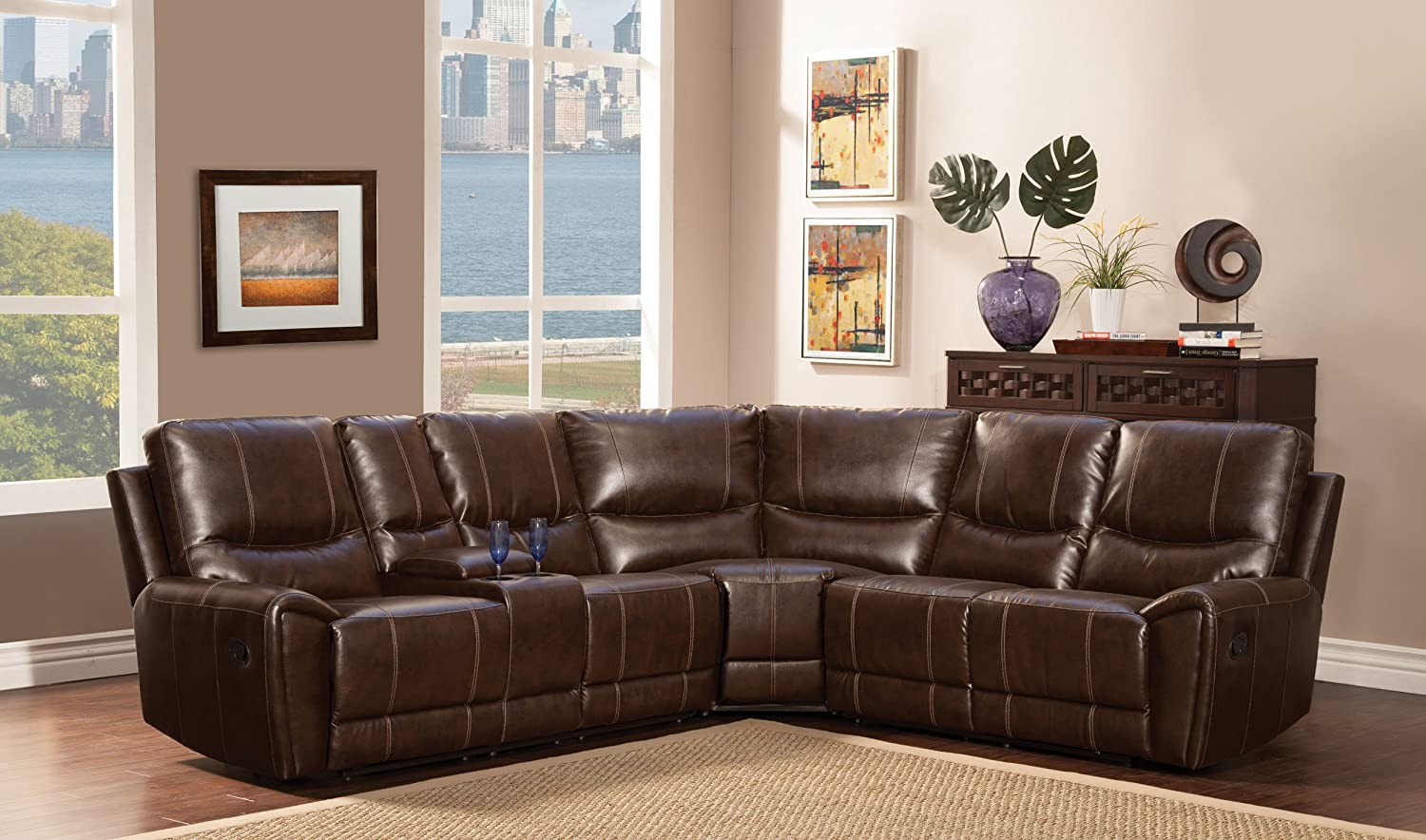 Amazon.com Homelegance 3 Piece Bonded Leather Sectional Reclining Sofa with Cup Holder Console Brown Kitchen u0026 Dining & Amazon.com: Homelegance 3 Piece Bonded Leather Sectional Reclining ... islam-shia.org