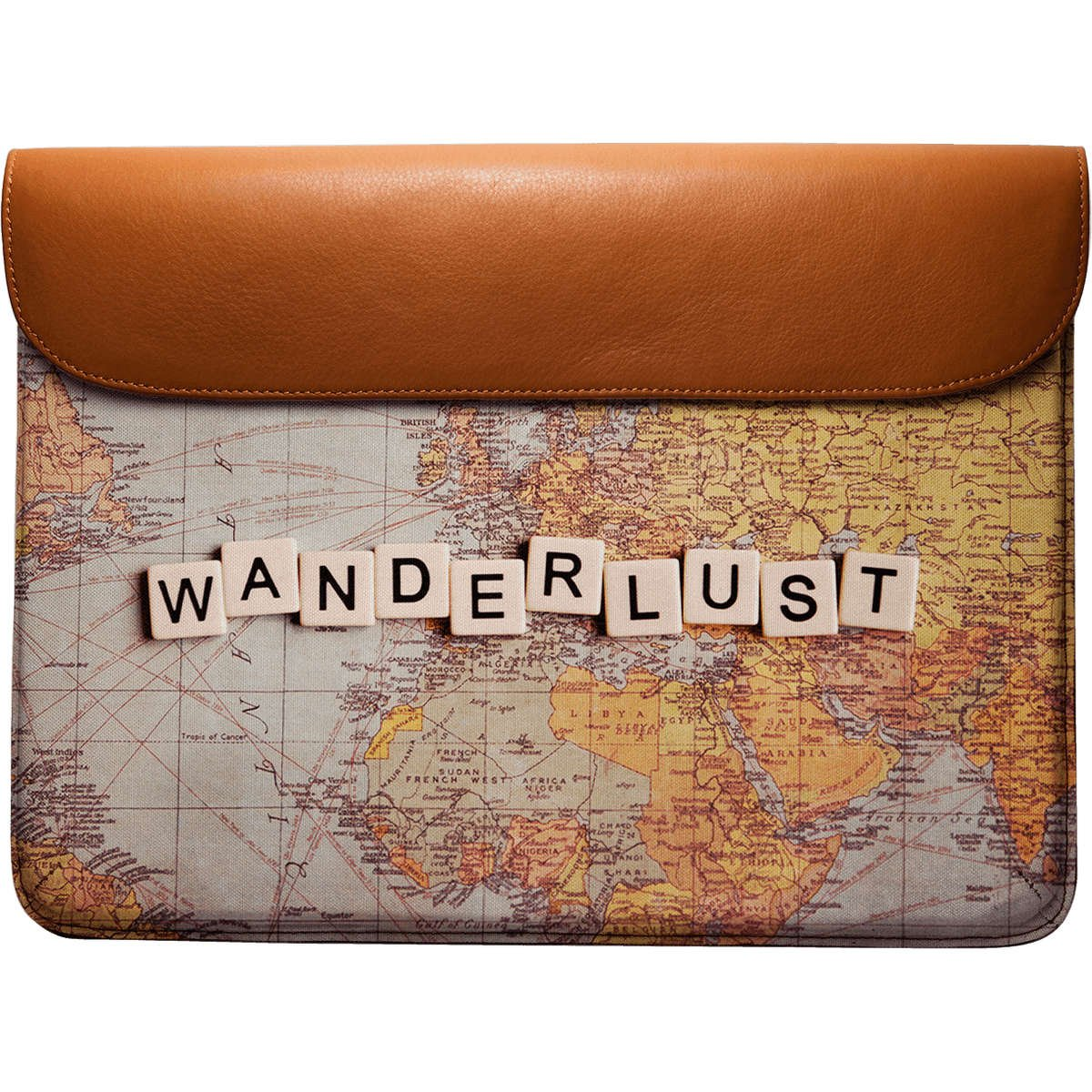 DailyObjects Wanderlust Map Real Leather Envelope Sleeve for MacBook Pro 13