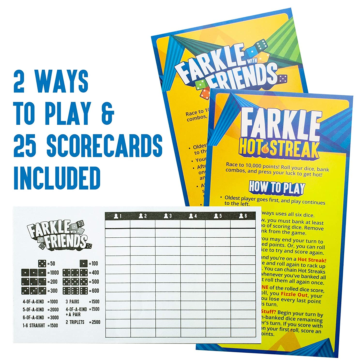 image about Farkle Instructions Printable called Farkle With Close friends: The Clic Cube Activity 6-Participant Occasion Tin Mounted Consists of 36 Cube, 6 Cube Cups, 25 Scorecards High quality Storage Tin Relatives Cube