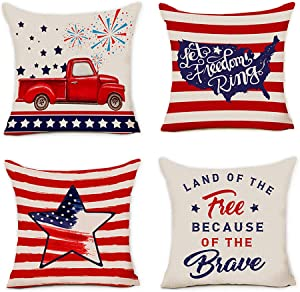 pinata 4th of July Pillow Covers Set of 4, Premium Cotton Linen Patriotic Quote Decoration for Sofa Couch Chair Car Home 18x18 Inch