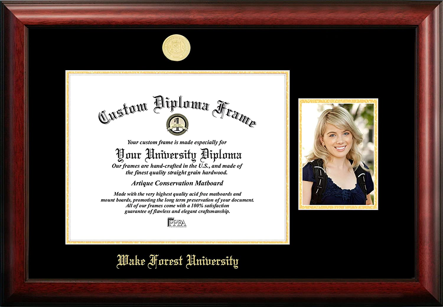 NCAA Wake Forest Demon Deacons Unisex Wake Forest University 14 x 11 Inches Gold Embossed Diploma Frame with 5 x 7 Inches Portrait Gold Embossed Diploma Frame with 5 x 7 Inches Portrait Brown One Size