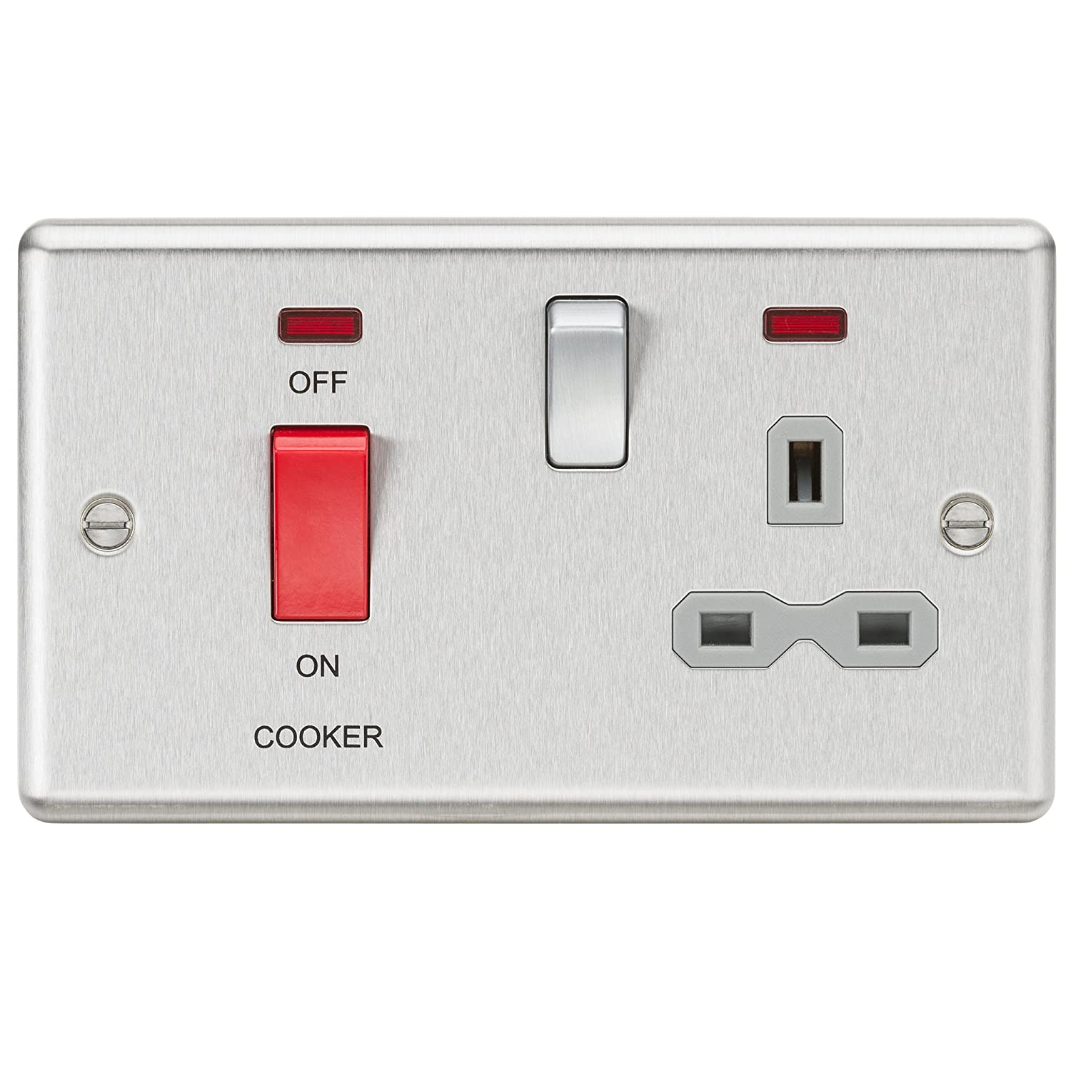 Knightsbridge CL7BCW 13A 1G DP Switched Socket with White Insert-Rounded Edge Brushed Chrome