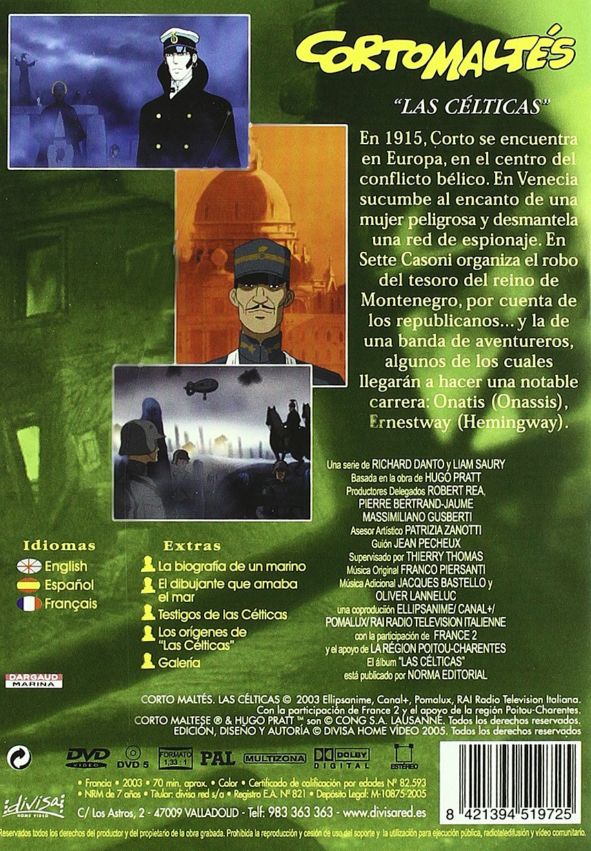 Amazon.com: Cortomaltés, Las Célticas ((Corto Maltese) (2003) (Import Movie) (European Format - Zone 2): Movies & TV