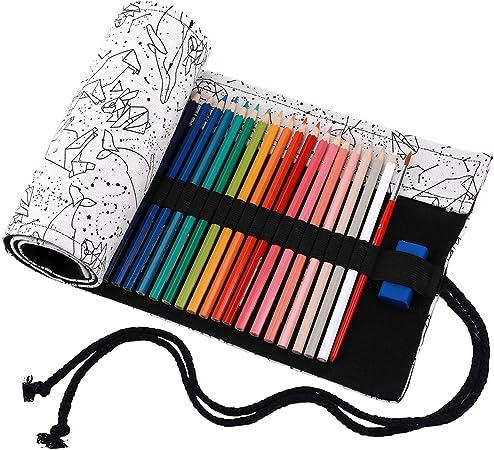 Abaría - Bolsa de lápiz de colores, grande mediana pequeño estuche enrollable 72 lápices, portalápices de lona, organizador para arte, elefante blanco: Amazon.es: Hogar