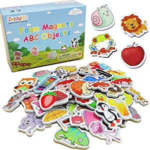 ZazzyKid Magnetic Foam Objects for Kids: 52 Toys of ABC Alphabet for Baby Early Education Fridge Magnets