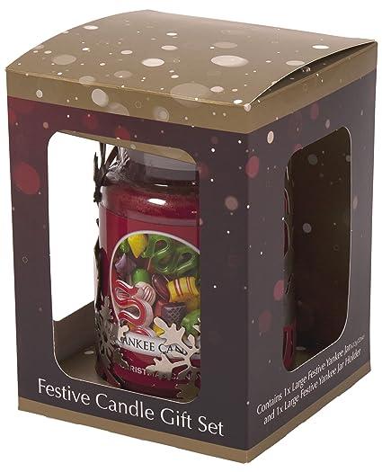 Yankee Candle Natale.Yankee Candle Premium Set Regalo Di Natale Renna Portabicchiere E Grande Rosso Natalizio Con Candela Profumata Argento Riflettente Metallo Rosso