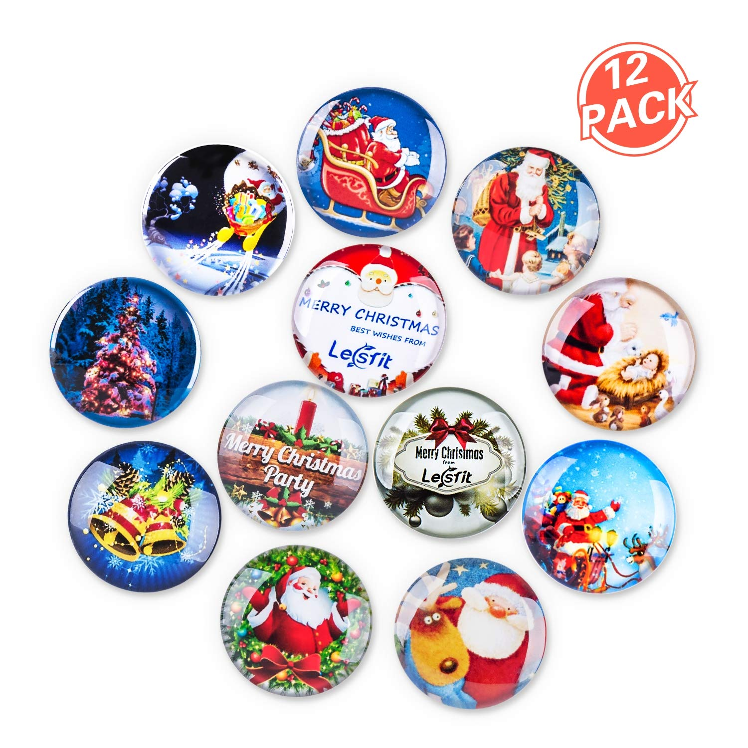 Christmas Magnets, Lesfit 12 Pack 3D Decorative Glass Magnetic Fridge Magnet for Map, Whiteboard and Refrigerator (1.18 inches)