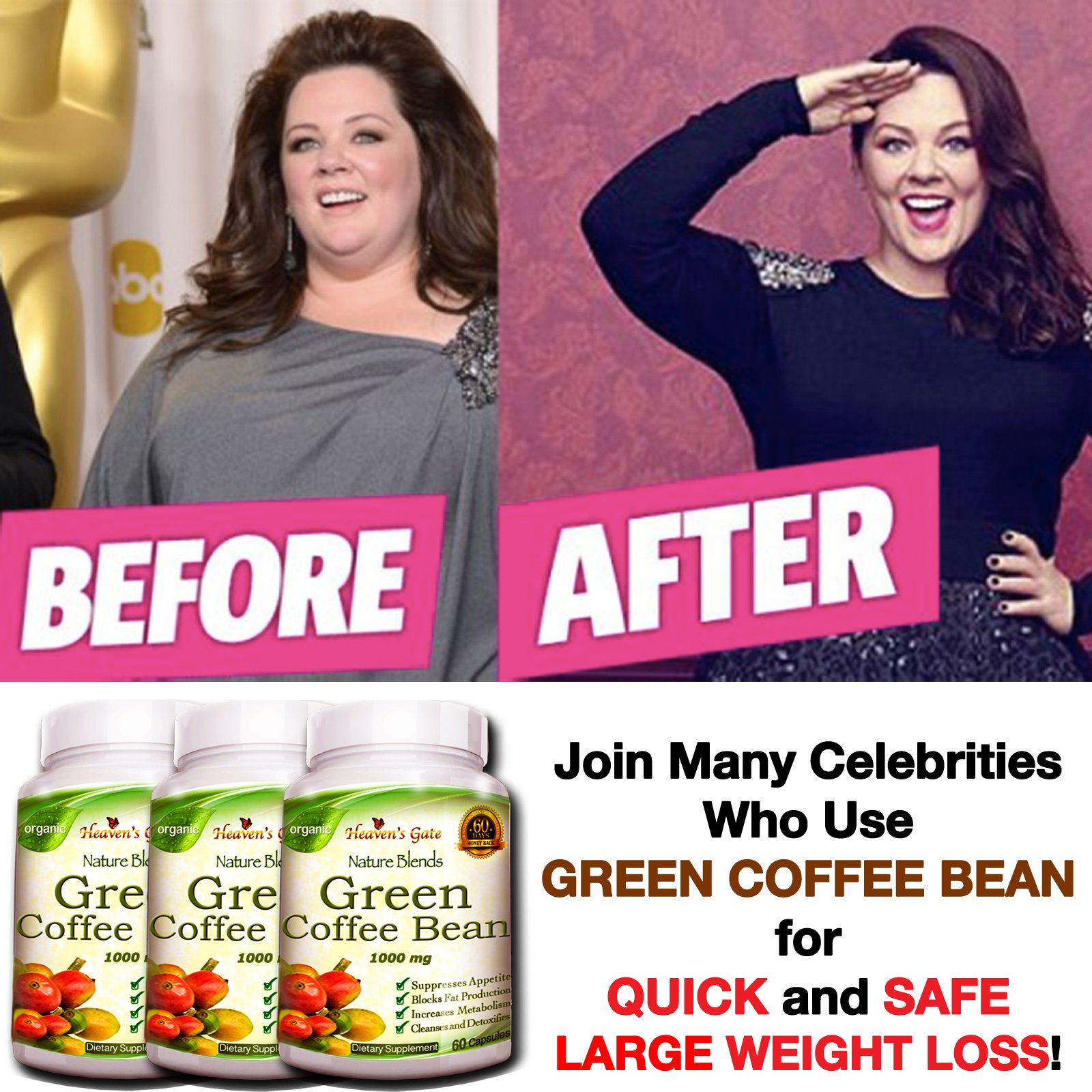 3 Green Coffee Bean Extract - 180 Capsules (1000 mg) 100% Pure - Max Strength Natural GCA Antioxidant Cleanse for Weight Loss by Affordable Natural Health