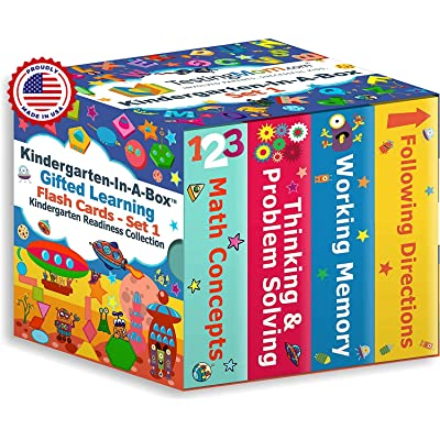 TestingMom.com Kindergarten-in-A-Box - Gifted Learning Flash Cards Bundle - Math Concepts, Thinking & Problem Solving, Working Memory, Following Directions (Set 1): Toys & Games